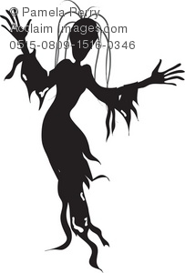 203x300 Halloween Clip Art Illustration Of A Female Ghoul Silhouette