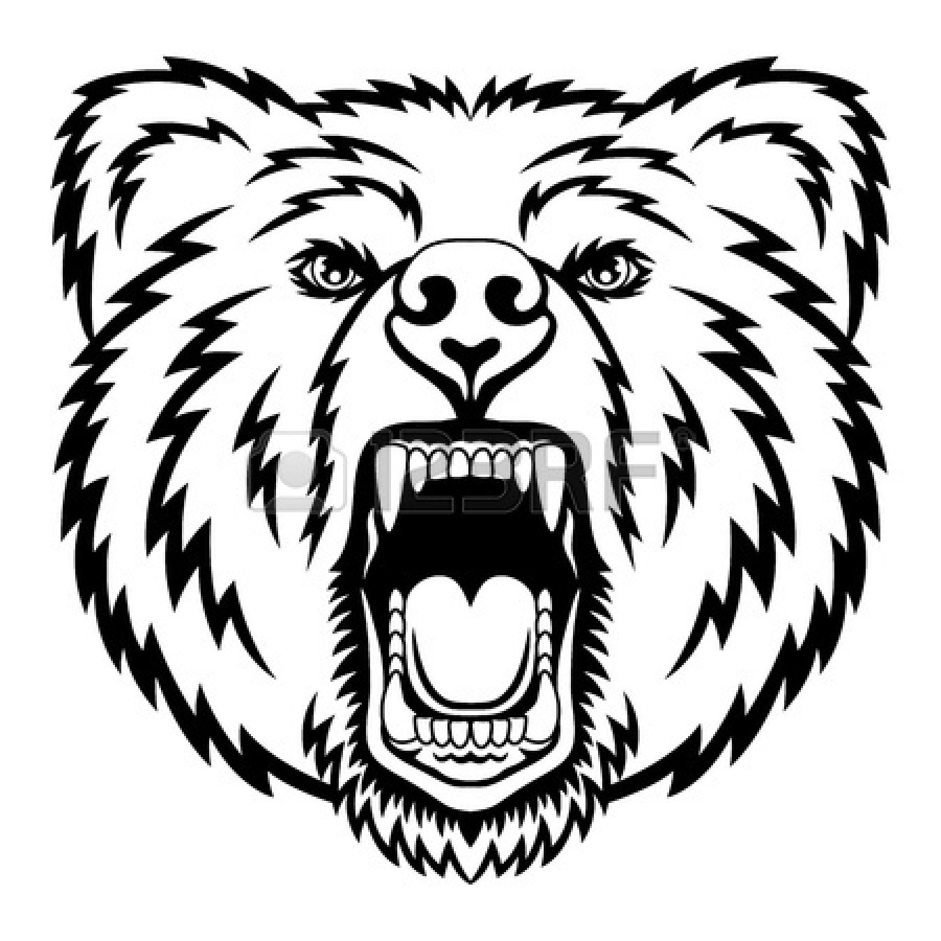 1350x1350 Standing And Growling Bear Clipart