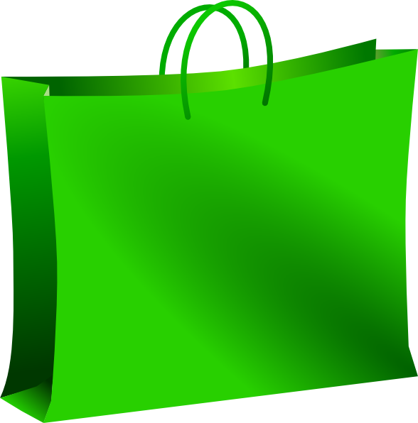588x596 Green Shopping Bag Clip Art