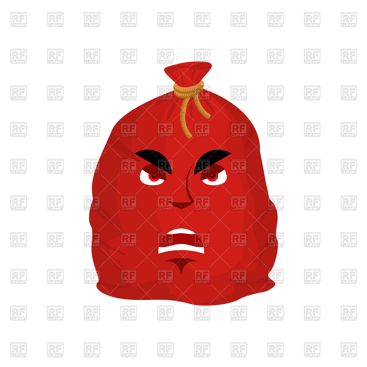 1200x1200 Santa Bag Angry Emotion. Red Christmas Sack With Gift Emoji