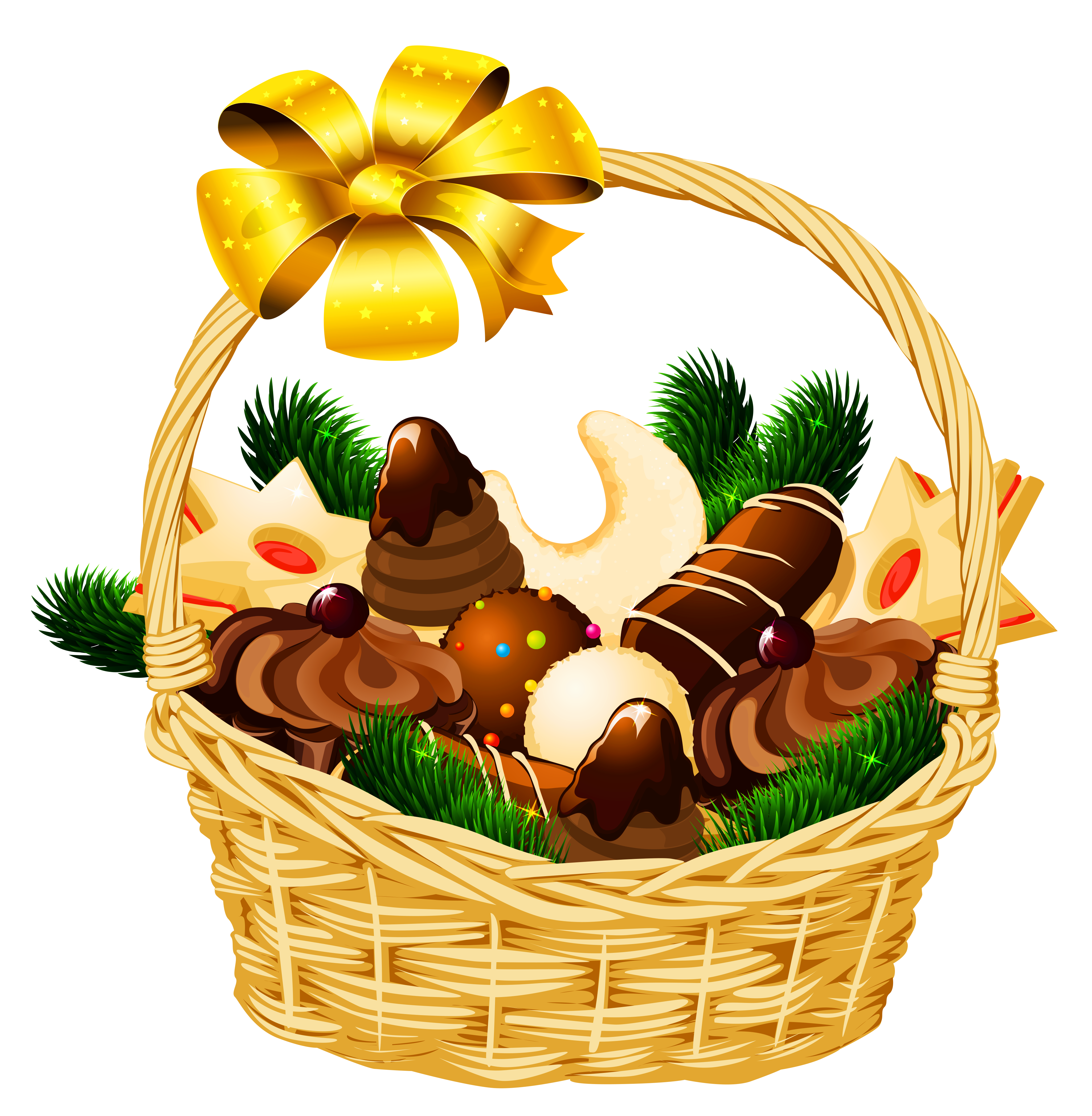 4101x4193 Basket Clipart Christmas Hamper