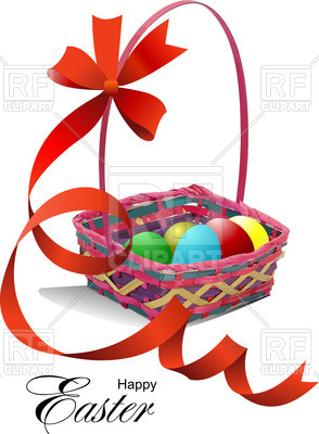 294x400 Basket With Easter Eggs And Red Ribbon Royalty Free Vector Clip