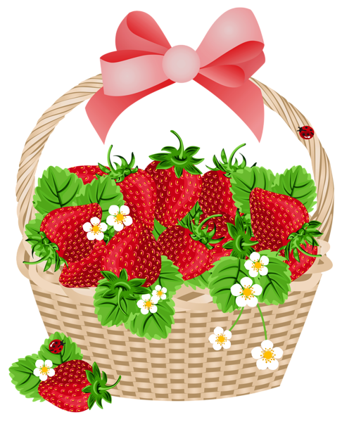 486x600 Basket With Strawberries Transparent Png Clipart Canastas