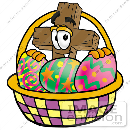 450x450 Clip Art Graphic Of A Wooden Cross Cartoon Character In An Easter