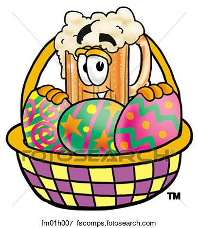 407x470 Clip Art Of Beer Mug And Easter Basket Fm01h007