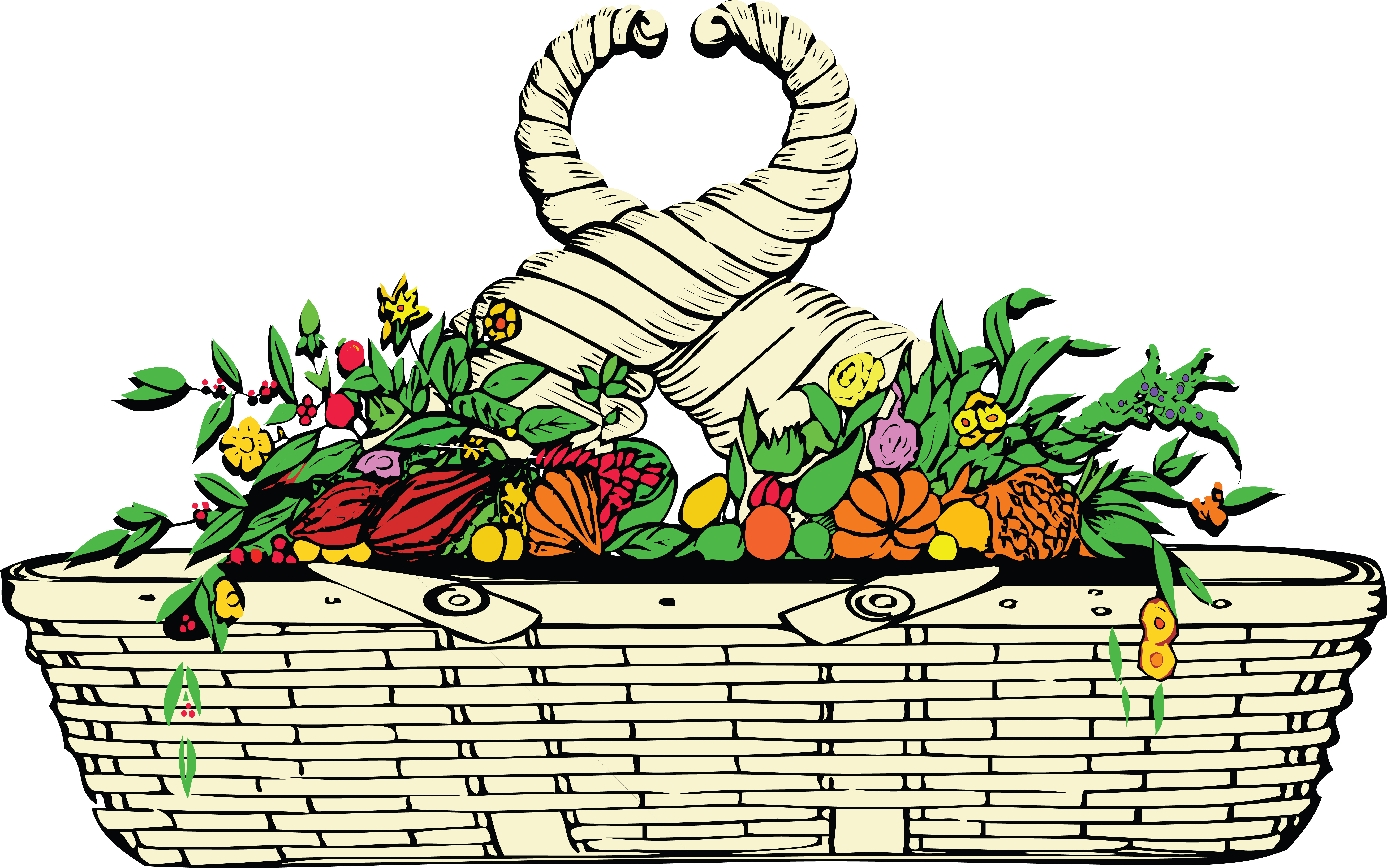 8000x5007 Clipart Of A Basket And Hors Of Plenty