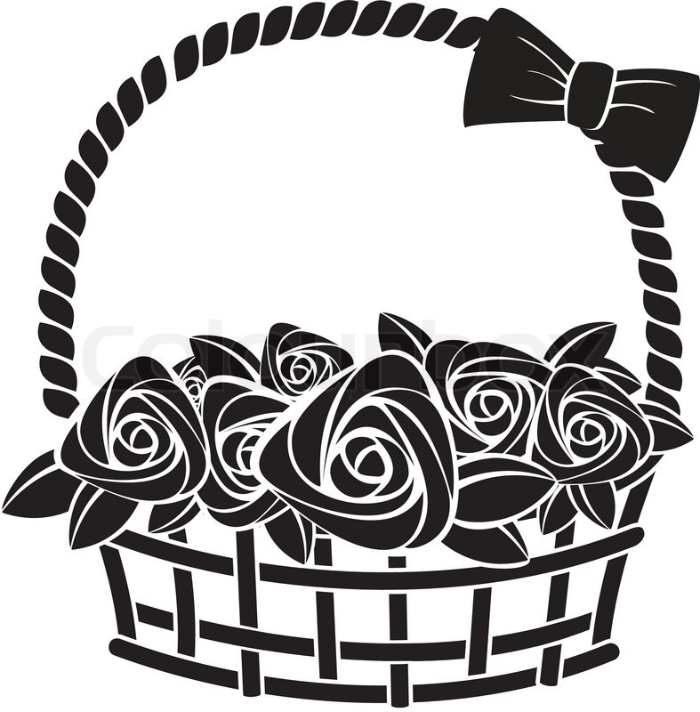 787x800 Gift Basket With Roses Abstract Vector Illustration Stock Vector