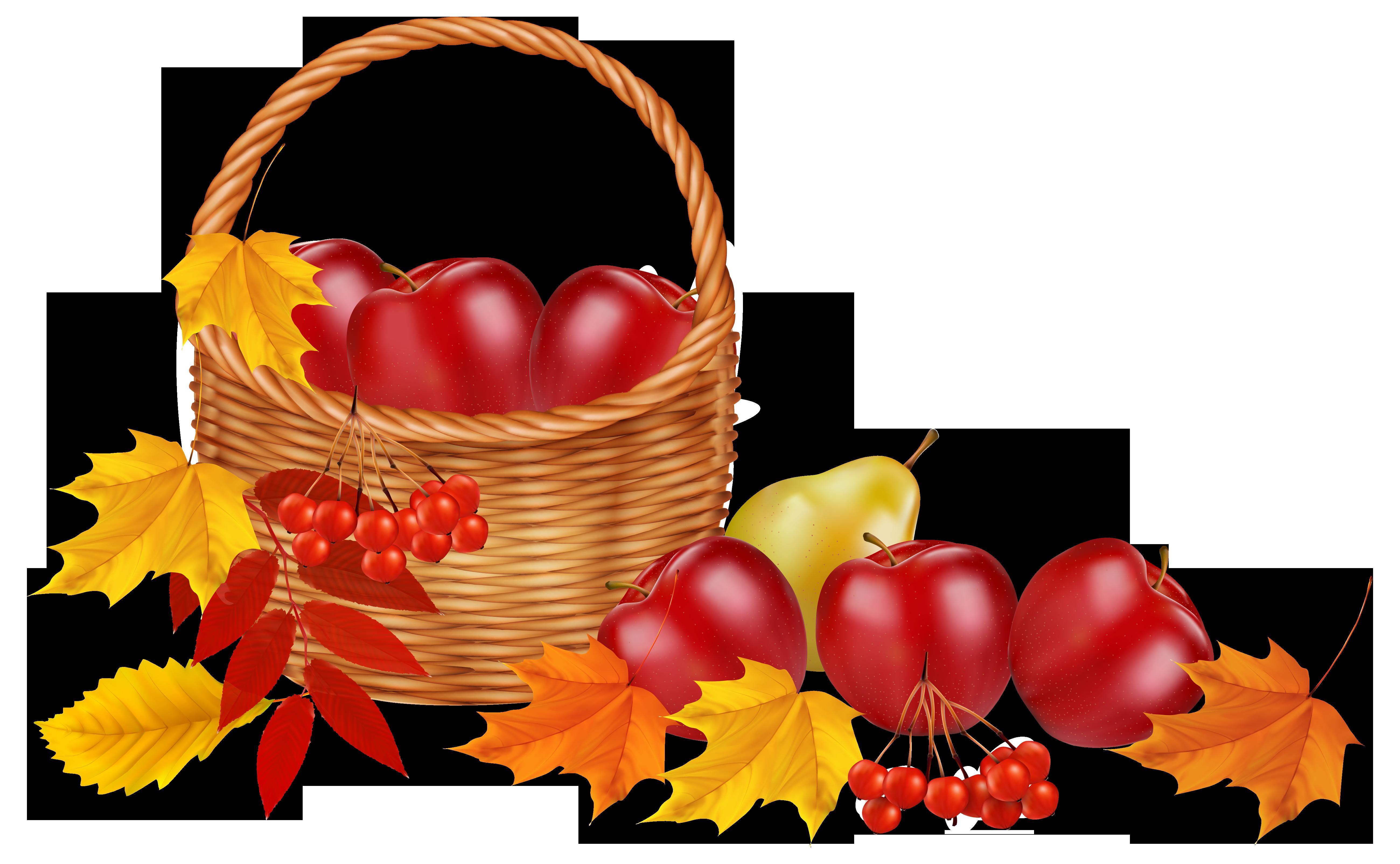 5199x3209 Thanksgiving Clipart Fruit Basket