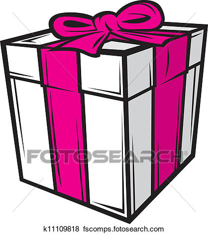 418x470 Clip Art Of White Gift Box With Pink Ribbon K11109818