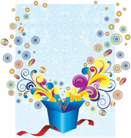 530x557 Free Groovy Gift Box Vector Illustration Free Vector