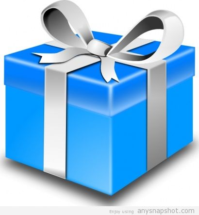 410x443 Blue Birthday Gift Box Clip Art