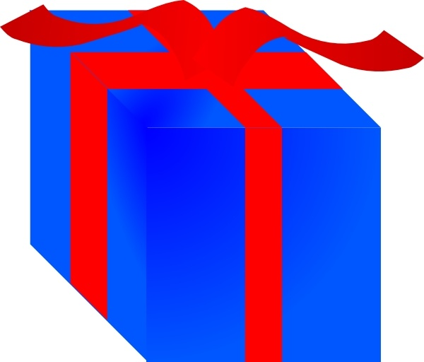 600x512 Blue Gift Box Wrapped With Red Ribbon Clip Art Free Vector In Open