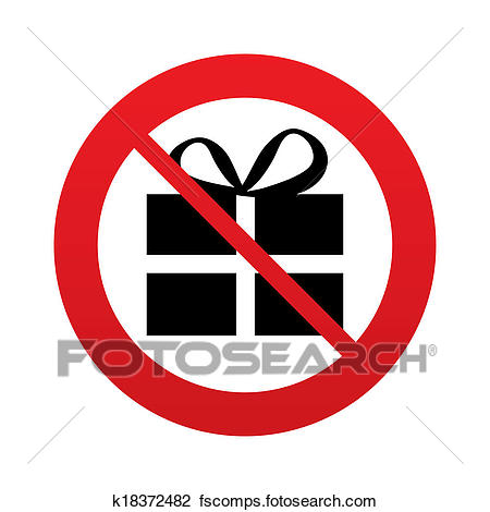 450x470 Clip Art Of No Gift Box Sign Icon. Present Symbol. K18372482