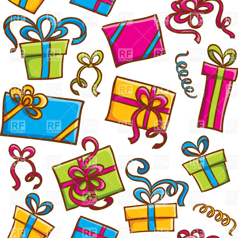 797x797 Seamless Colorful Pattern With Cartoon Gift Boxes Royalty Free