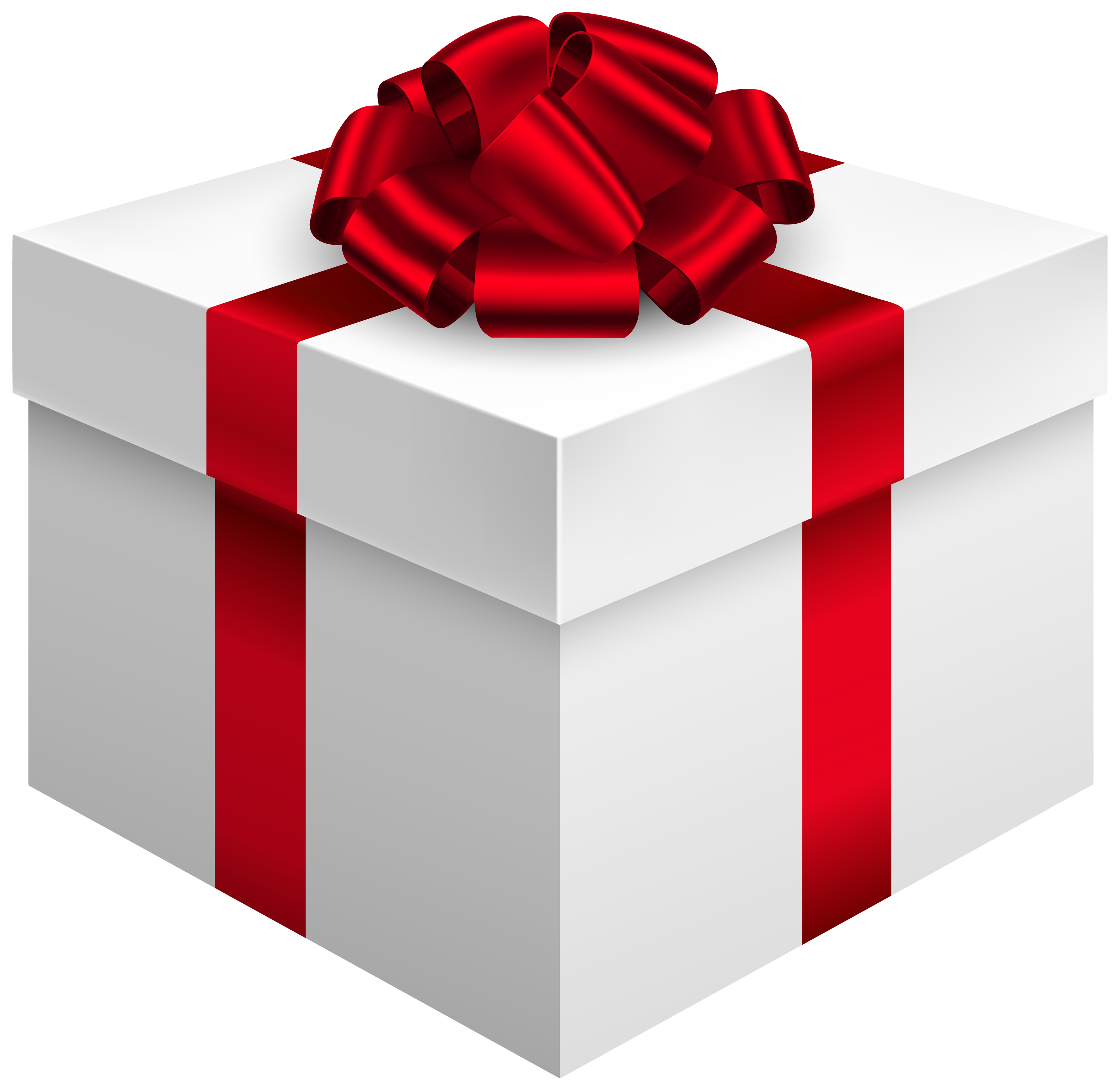 4000x3895 White Gift Box With Red Bow Png Clipart