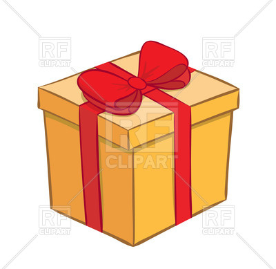 400x389 Yellow Gift Box With Red Ribbon And Bow Royalty Free Vector Clip