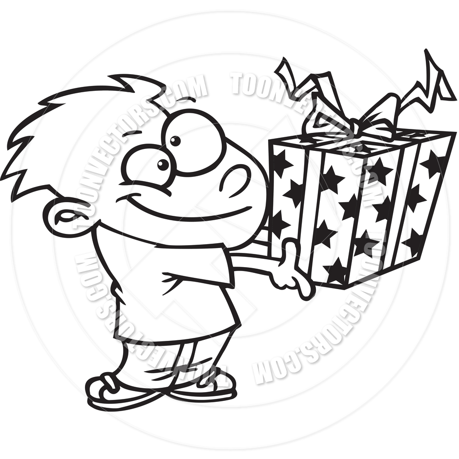940x940 Cartoon Boy Giving A Gift (Black And White Line Art) By Ron