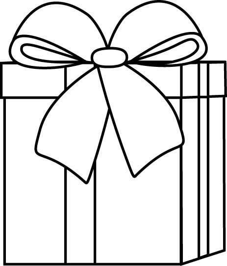 463x541 Christmas Present Clip Art Black And White