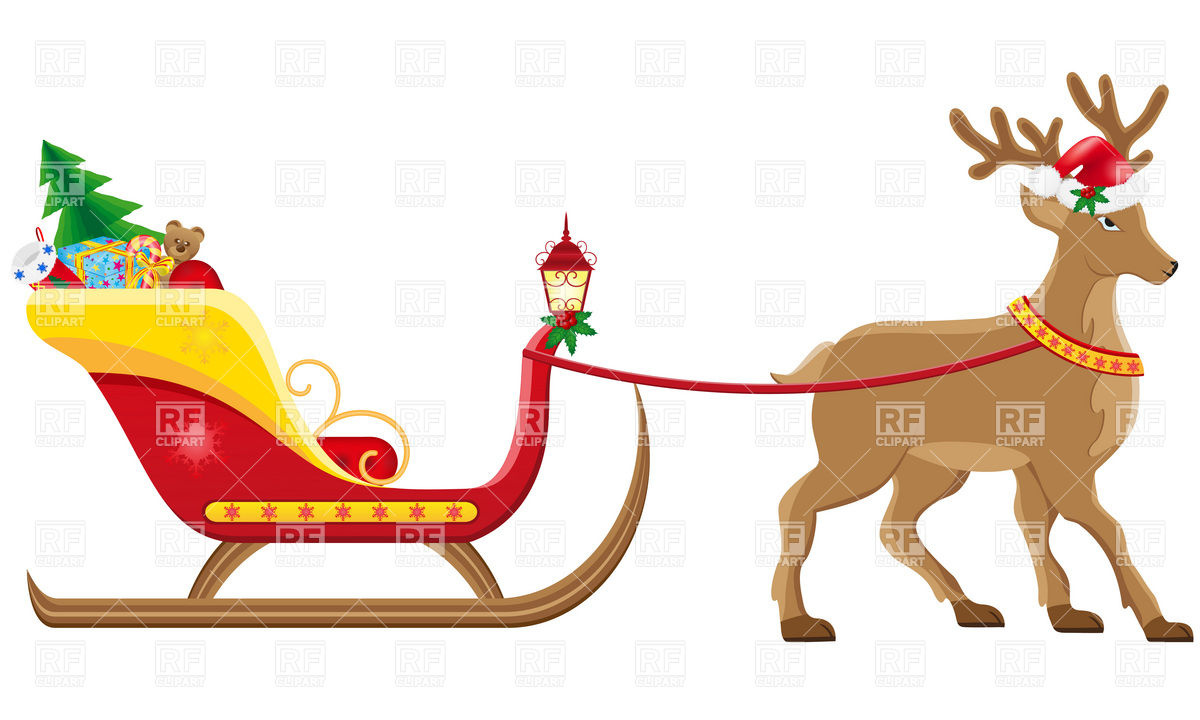 1200x720 Christmas Sleigh Of Santa Claus With Gifts Royalty Free Vector
