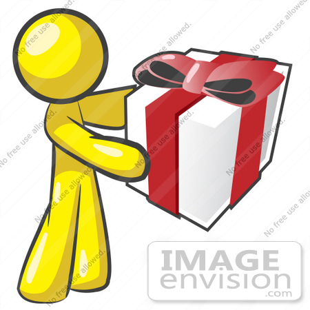 450x450 Clip Art Graphic Of A Yellow Guy Character Holding A Gift