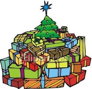 300x293 Presents Under A Christmas Tree Clip Art