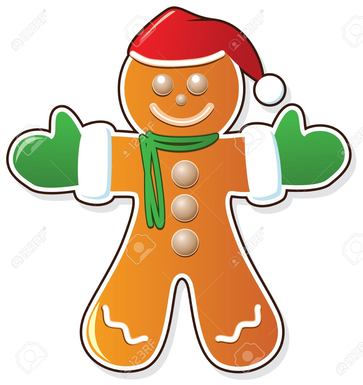 1226x1300 Vector Gingerbread Cookie In Santa's Claus Hat And Mittens Royalty