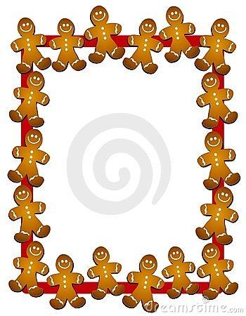 350x450 Gingerbread Man Border Or Frame Clip Art Image