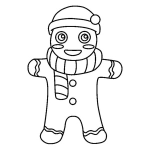 300x300 Gingerbread Men With Bow Tie Coloring Page