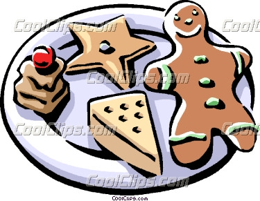 375x291 Christmas Cookies With Gingerbread Man Vector Clip Art