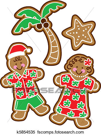 352x470 Clipart Of Tropical Christmas Cookies K5854535