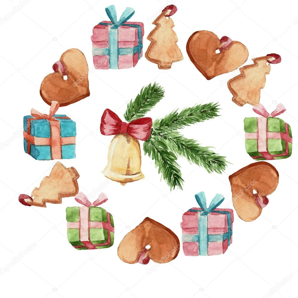 1024x1024 Christmas Gingerbread Cookies Watercolor Stock Photo Luchioly