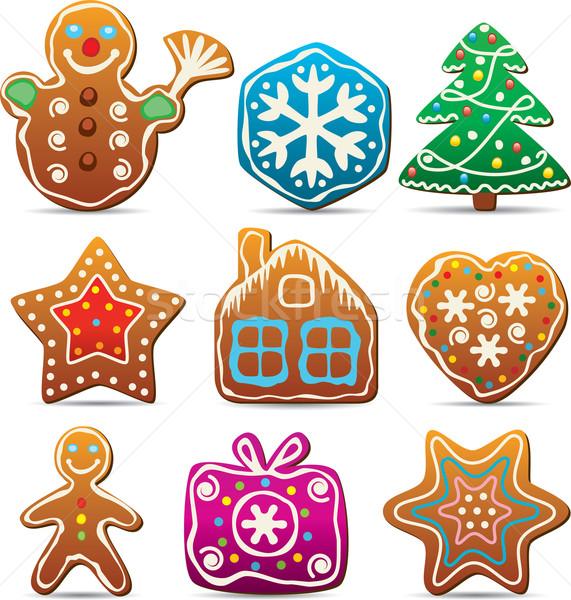 571x600 Nine Gingerbread Cookies Vector Illustration Dmitry Merkushin