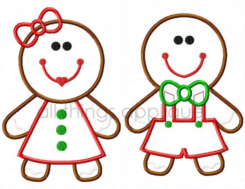1500x1159 Gingerbread Boy And Girl Applique Christmas Applique Design