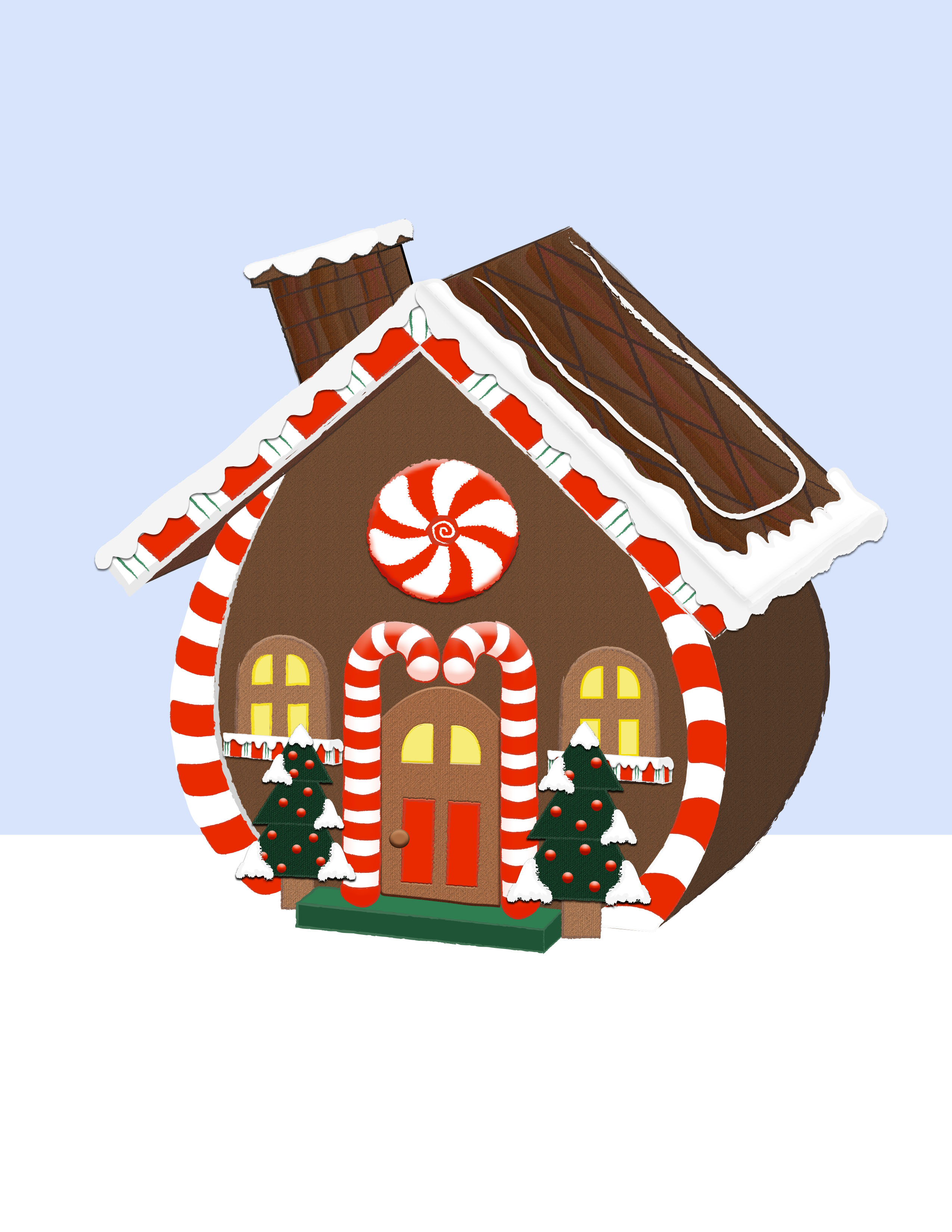 2550x3300 Free Gingerbread House Clipart