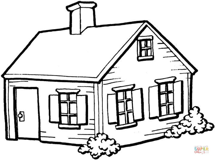 720x536 Small House In The Village Coloring Page Free Printable Coloring