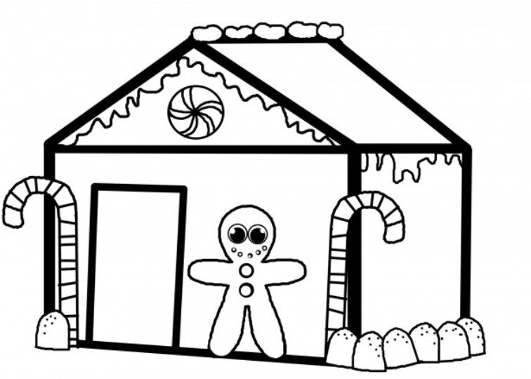 756x540 Christmas Gingerbread House Coloring Pages Christmas Coloring