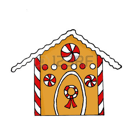 450x414 Hand Drawn Gingerbread House With Candy Decorations Stock Photo