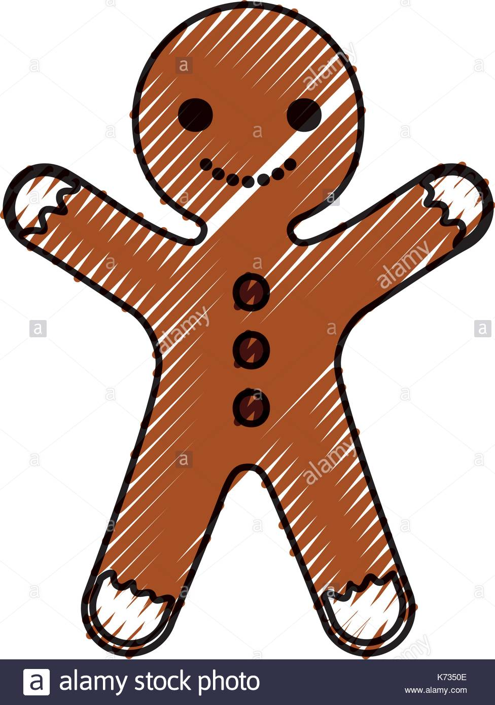 976x1390 Gingerman Homemade Christmas Gingerbread Cookie Style Stock Vector
