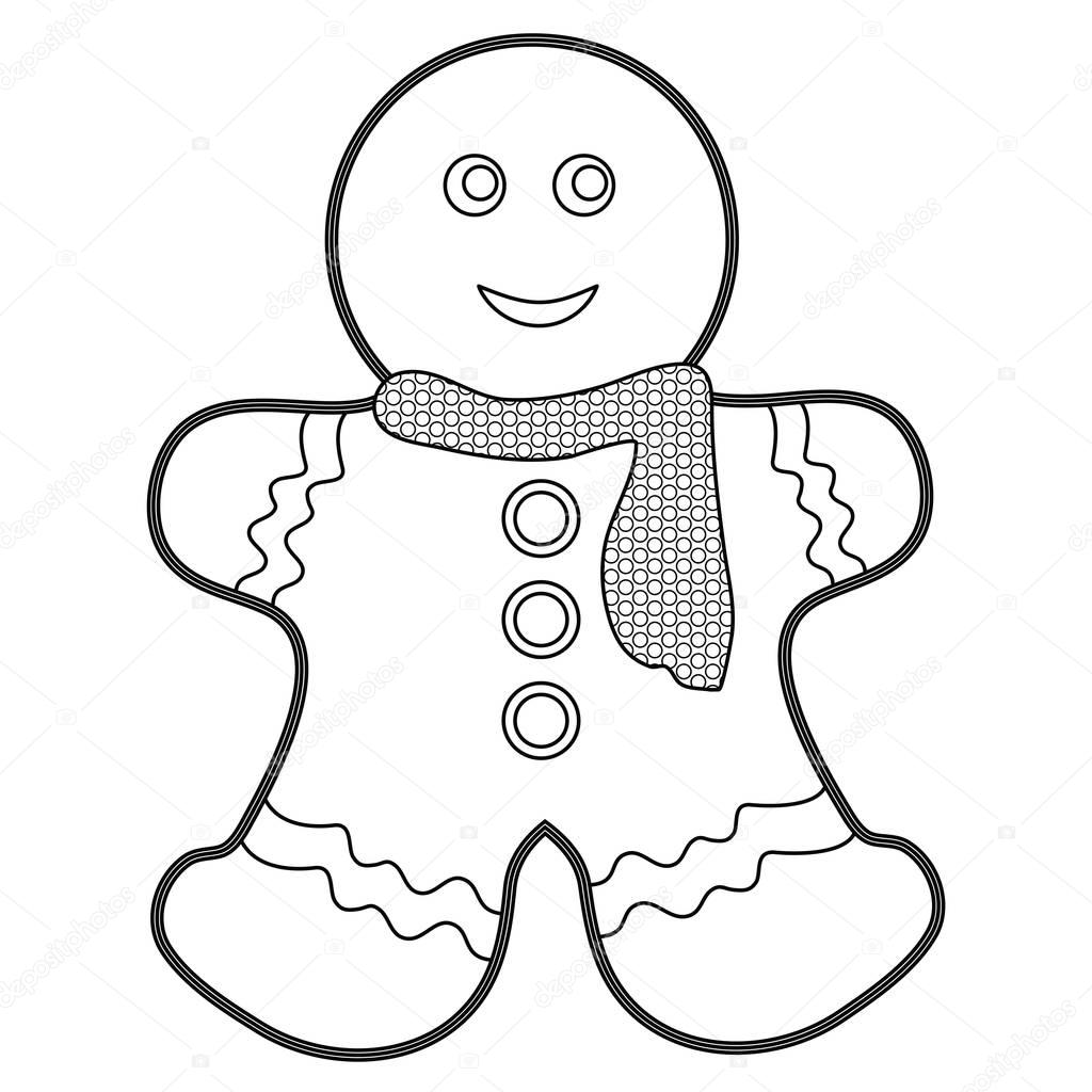 1024x1024 Gingerbread Man Coloring Page Stock Photo Smk0473