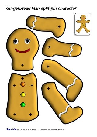 319x451 Split Pin Gingerbread Man (Sb1355)