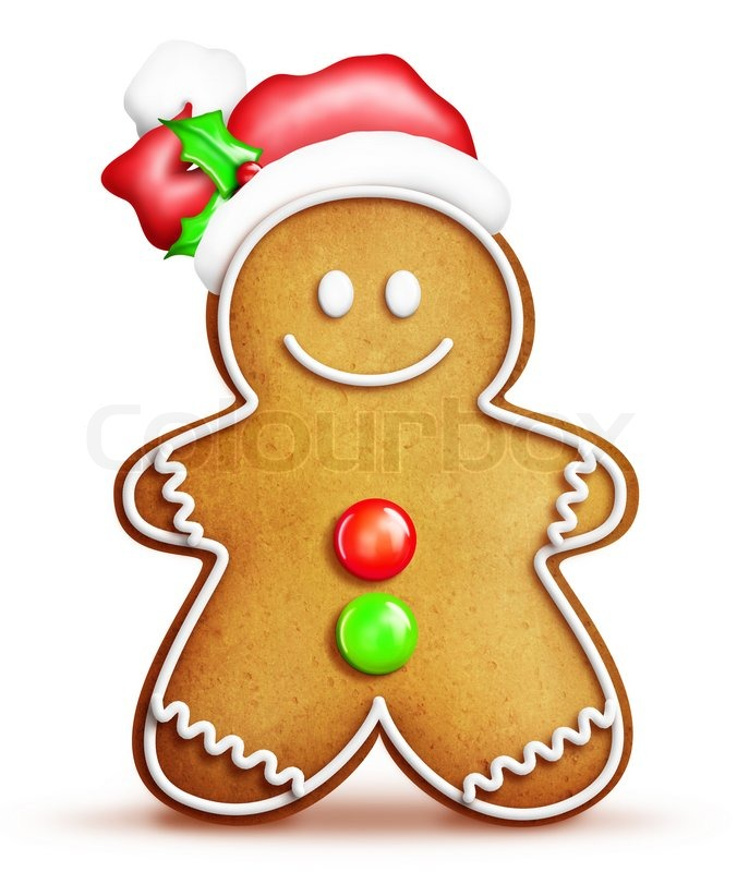 676x800 Cartoon Gingerbread Man With Santa Hat Stock Photo Colourbox