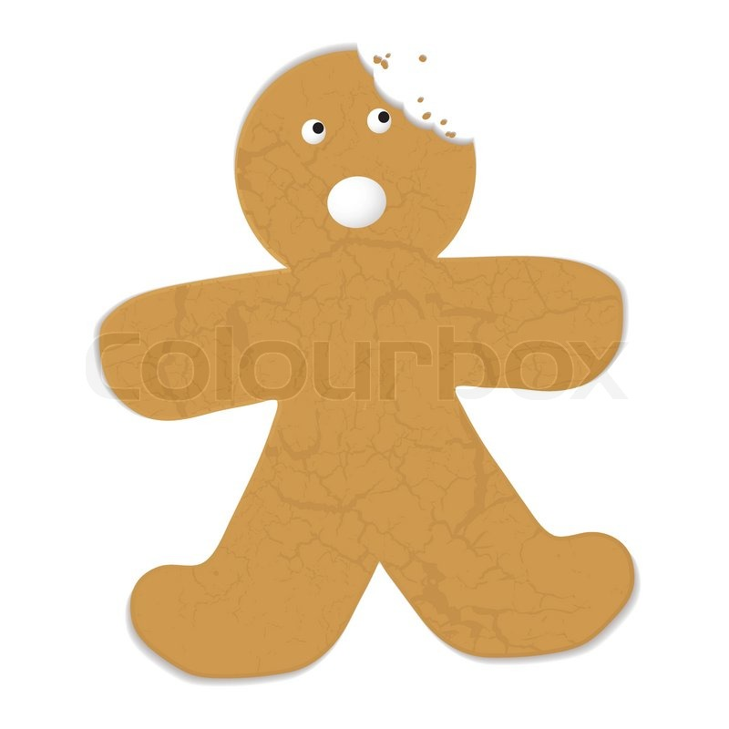 800x800 Gingerbread Man With A Bite Out Of His Head And Startled
