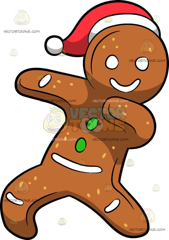 721x1024 A Dabbing Gingerbread Man Cartoon Clipart