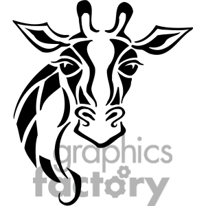 300x300 Giraffe Black And White Clipart