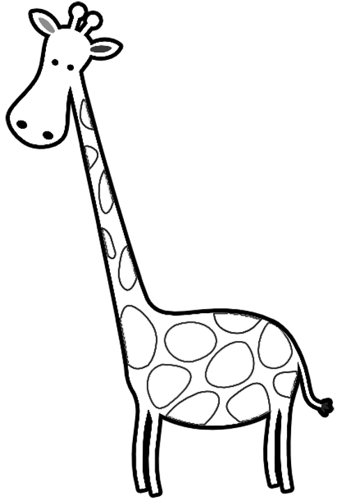 484x720 Giraffe Clipart Black And White