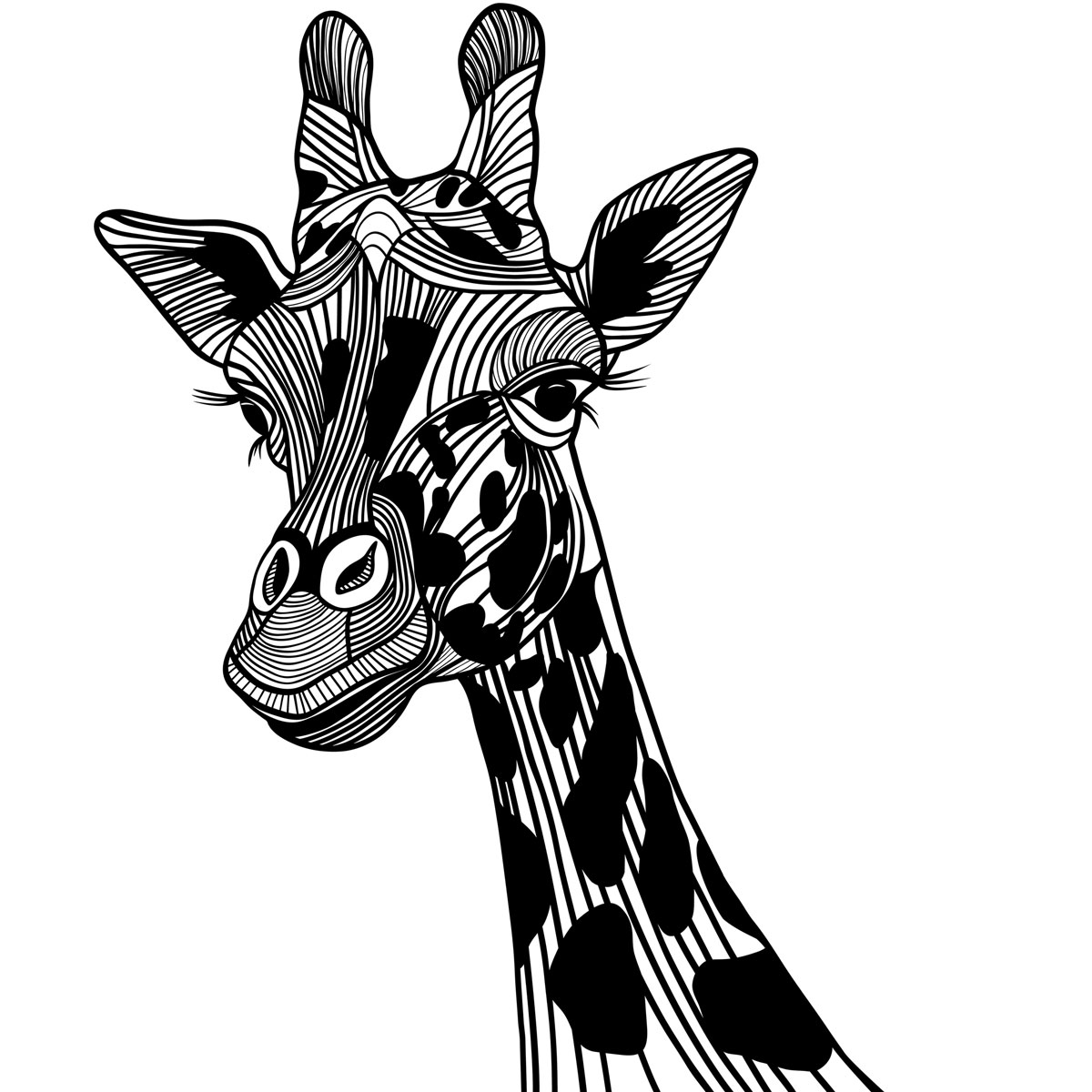 Giraffe Black And White Clipart