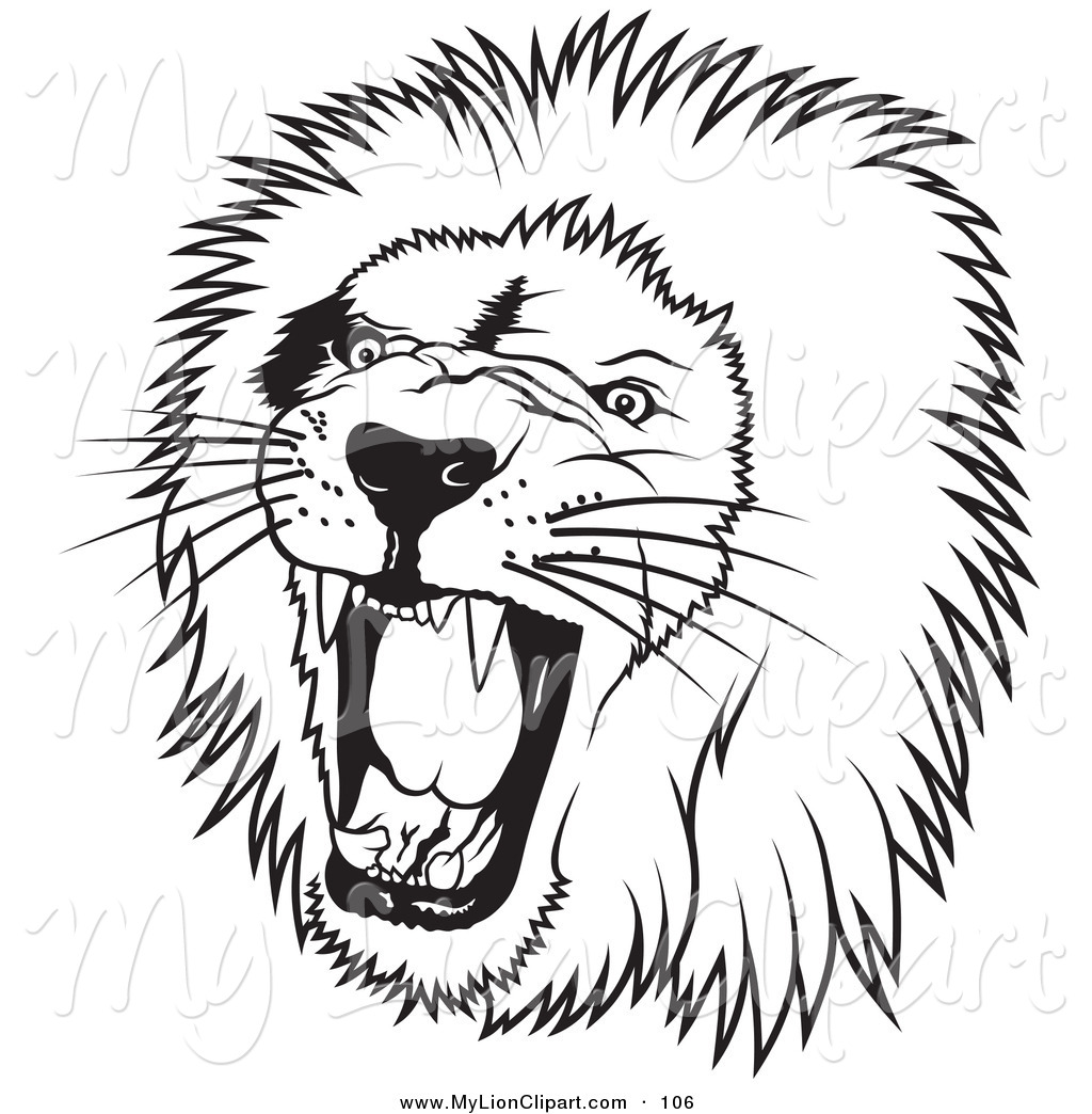 1024x1044 Clipart Of A Black And White Roaring Male Lion Head Facing To