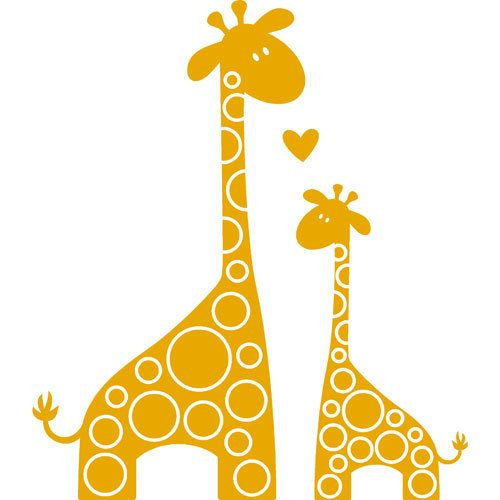500x500 Giraffe Clipart Mother And Baby