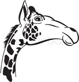 309x320 Stylized Giraffe Vector Illustration. Elegant Animal Tattoo