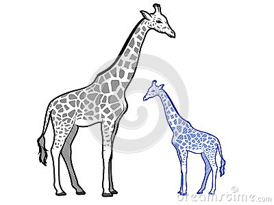 400x300 And Baby Giraffe Outline Giraffe Clipart